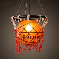 basketball pendant light - American retro creative personality restaurant bar table stores stadium sports theme Art Deco pendant lamp basketball