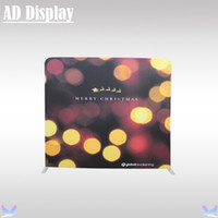 Wholesale 8ft ft Straight Exhibition Events Backdrop Stand With Banner Printing Tradeshow Booth Advertising Tension Fabric Backwall Display