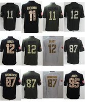 Wholesale Mens Football Jerseys Tom Brady Julian Edelman Rob Gronkowski Jones Stitched Anthracite Salute to Service Jersey