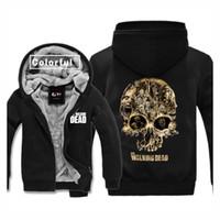 baseball turtleneck - Big Skull Costumes Adult Thickness Velvet Baseball Hoodies The Walking Dead Sweatshirts men Winter Jacket Coat M XL
