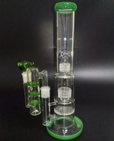 Wholesale Glass Bongs With Ashcatcher Gear Tall Thick Big Heady Bong Green Glass Water Pipes Honeycomb mm Joint