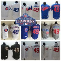 Wholesale Chicago Cubs Jake Arrieta Baseball Jerseys World Series Champions Patch Flexbase Men Jersey Fashion Flex Base Blue White Gray Cream
