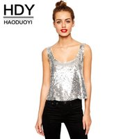 Wholesale HDY Apparel Slim Sequins Backless Brief Tops Sexy Crew Neck Sleeveless Tanks Party Club Style Camis Women Clothes