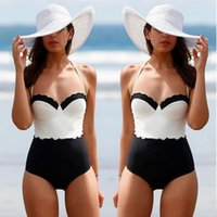 bathing steel straps - 2017 Hot style new one piece steel and white stitching hot spring bathing suit conservative swimwear swimsuit