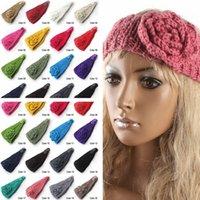 achat en gros de bouton de fleur pour serre-tête-20 couleurs crochet bandeau Knitting Hairband bouton de fleur en hiver Wrap oreille chaude Head bande de cheveux bijoux pour les femmes filles PPA740