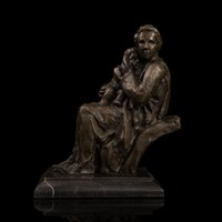 arts and crafts copper - Arts Crafts Copper Art sculpture Bronze Statue Mother and Child Figurines Gift Antiques Home Soft Adornment Art Collectible coun