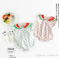 Whole Size babies pet collars - INS new arrivals summer baby kids climbing romper sleeveless pet pan collar watermelon print romper girl kids romper kid summer rompers T