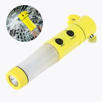 Wholesale 4 in multi functional flashlight safety belt cutter LED warning light car safety hammer
