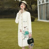 Wholesale Parka Jacket Specialty Yarn Splicing Blockbuster Embroidered In Long Collar Down Cotton padded Jacket Elegant Cotton Coat