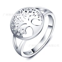Wholesale 2016 brand new Tree of Life Ring white rhodium plated Tree in Round Circle Finger Ring