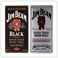 Wholesale Vintage Metal Art Poster Jim B Black White Label TIN SIGN Whiskey Rum Beer Bar Mancave