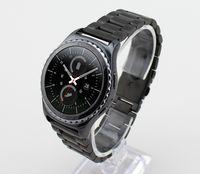 Vente en gros-noir / argent en acier inoxydable boucle de poignet sangles de montre pour Samsung Gear S2 bracelet de montre classique avec outil de suppression gratuit