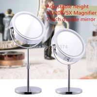 adjustable height round table - 7 Inch LED Table Mirror Adjustable height X X Magnification Double Beauty mirror high definition Rotary Antirust