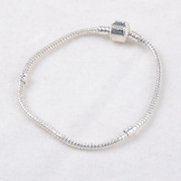 basic animals - 925 Silver Plated Bracelet Snake Chain with Barrel Clasp Fit European Beads Basic DIY Pandora Bangles Bracelets DHL