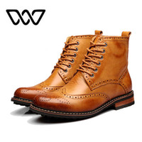 Wholesale brand Men Ankle Motorcycle boots Oxford Shoes Winter autumn Men Genuine Leather boots mens British Bullock Style boots