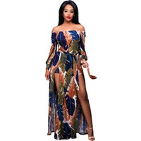 Wholesale 2016 Autumn Dress Women Solid Color Off The Shoulder Floral Printed Long Sleeve Romper Maxi Dress