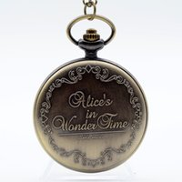 analog writing - Alice in Wonderland The Write Rabbit and Key Roman Numerals and Poker Dial Quartz Pocket Watch Analog Pendant Necklace Men Women Watch Gift