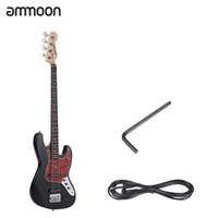 bass guitar frets - ammoon String JB Electric Bass Guitar Solid Wood Durable Basswood Body Rosewood Fretboard Frets with mm Cable