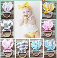 Wholesale Baby INS Teethers Wood Circle With Rabbit Ear Fabric Newborn Teeth Practice Toy Training Teething Ring color KKA1178