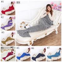 Wholesale Adult Mermaid Tail Blanket Siesta Sleeping Bags Mermaid Crocheted Blanket Handmade Bedding Shark Wrap Cartoon Air Condition Blanket OOA1055