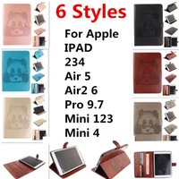 Wholesale For Apple ipad Air5 Air2 pro9 mini123 mini4 Panda embossed D Tablet PC Cases Bags protector embossing standing wallet cardholder