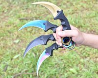 Wholesale 2016 Hot Sale Handmade Hunting Karambit Knife CS GO Never Fade Counter Strike Fighting Survival Tactical Knife Claw Camping knives Tools
