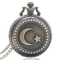 analog clock themes - Antique Bronze Turkey Flag Design Quartz Pocket Watch Moon and Star Theme Fob Clock