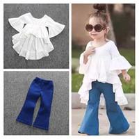 beautiful jeans skirt - INS Baby Girls Princess Fairy Dress Beautiful Skirt Fashion Flare Sleeve Asymmetrical Cotton Casual Dresses Kids Girls Pants Jeans