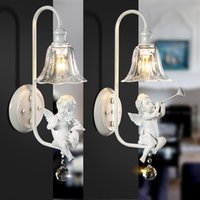 Wholesale Restoring ancient ways is contracted single head of bedroom the head of a bed wall lamp Creative personality angel corridor balcony wall lam