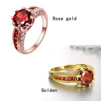 Wholesale Newest k Gold plated Crystal CZ Stone Ring Engagement Red Gemstone Jewelry Couple s Day Rose Gold Ring