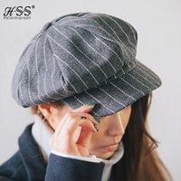 Женщины-художники RU-Оптово-Высокое качество Vintage художник шляпа теплый полосатый Исполнитель шерсти восьмиугольной Женщины Cap береты Женщины Восьмиклинка Chapeu Feminino Boina
