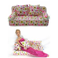 best dollhouses - BBGUN001 Doll Accessories Cute Dollhouse Furniture Flower Cloth Sofa Couch With Cushions For Barbie Doll House Toys Best Gift