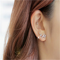 Wholesale Women Lady Fashion Statement Jewelry Crystal Branch Leaves Ear Cuff Pair Elegant bEarrings Stud Jewelry