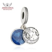 beads moon - Memnon Jewelry Sterling Silver Christmas Night Sky Charm CZ Pave Moon and Star Midnight Blue Enamel Pendant Beads For Jewelry Make DA190