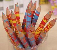 Wholesale 20PCS Mixed Colors Rainbow Pencil Art Drawing Pencils Writing Sketches Children Graffiti Pen School Supplies