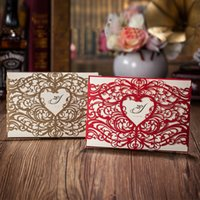 Wholesale Gold Laser Cut Heart shaped Wedding Invitations cards Hollow folded Invitations Card For wedding Party Supply Free Printing and Customized
