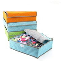 bamboo fabric for bedding - 100 Set Grids Bamboo Charcoal Fiber Storage Box For Bra Folding Organizer Boxes With Cover Underwear Clothing Socks