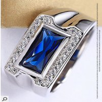 Wholesale S925 pure silver microscope ring opening male tide restoring ancient ways the sapphire ring silver ornaments