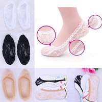 Wholesale Hot Women Fashion Voile Lace Antiskid Invisible Liner Flexible Low Cut Boat Socks