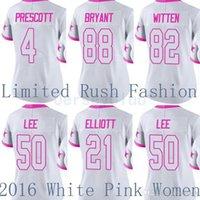 Wholesale Limited Cowboys Dak Prescott White Jason Witten Dez Bryant Ezekiel Elliott Sean Lee Pink Women Stitched Logos Football Jerseys