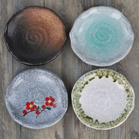 Wholesale Japanese Style Creative pattern porcelain glaze plates breakfast plate dessert plate susi plate inch
