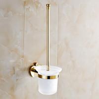 apple toilet - All copper toilet brush holder suits Toilet brush cup toilet bathroom pendant Golden apple hanging rack