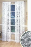 Wholesale good quality jacquard knitted rose lace curtains with rod pocket white or ivory rose curtain panel drapes x213 cm with two pieces