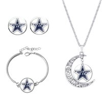Wholesale Classic blue star jewelry sets Dallas Cowboys team Newest american football rugby necklace earrings bracelet sets gift