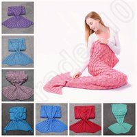 Wholesale Adult Mermaid Tail Fish Blankets cm Women Sleeping Bag Bedding Warm Soft Handmade Knitted Sofa Blanket colors OOA932