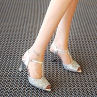 Glitter pumps grey Avis-Euro Style T-strap Buckle Thick High Heels Chaussures Femme Chaussures Noir Gris Pink Glitters Peep Toe Ladies Party Shoe Taille 34-39 Chaussures