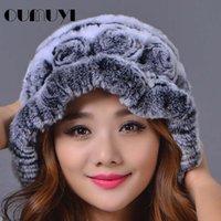 Wholesale 2017 New European Fashion Female Rex Rabbit Fur Casual Hat Women Winter And Spring Elegant Beanies Hat Color Genuine Caps Caps