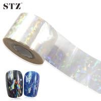 Wholesale STZ x4cm New Shinning Glass Broken Glass Sticker Nail Foils for Adhesive Glue Plastic Full Wraps Transfer Foils TW02