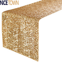 bamboo table runners - piece Luxury Glitter Sparkling Solid Color Sequin Table Runner for Party Wedding Banquet Baby Showers Table Decoration