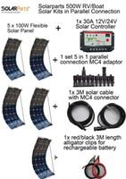 Solarparts 500W DIY солнечные комплекты syste, 5x 100W гибкая солнечная панель, 1x 30A солнечный контроллер, 1set 5 в 1 разъем полного кабеля